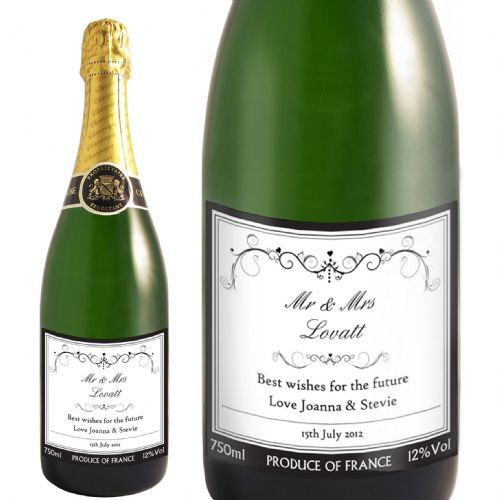Personalised Ornate Swirl Champagne Label with Gift Box